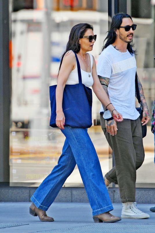 KATIE HOLMES in Denim Out with a Mystery Man in New York 06/17/2021