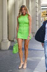 KELLY BENSIMON in a Neon Green Mini Dress Out in New York 06/15/2021