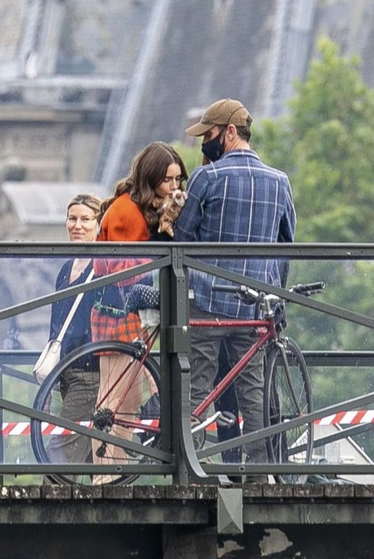 LILY COLLINS on the Set of Emily in Paris in Paris 06/22/2021