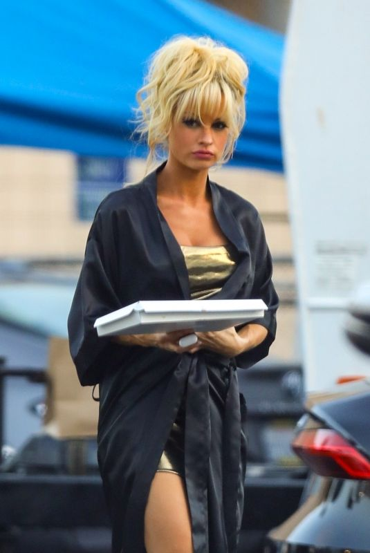 LILY JAMES as Pamela Anderson on the Set of Pam and Tommy in Malibu 06/13/2021