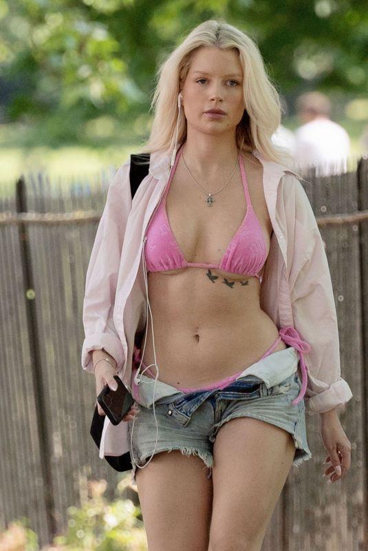 LOTTIE MOSS in Bikini Top and Denim SHorts Out in London 06/13/2021