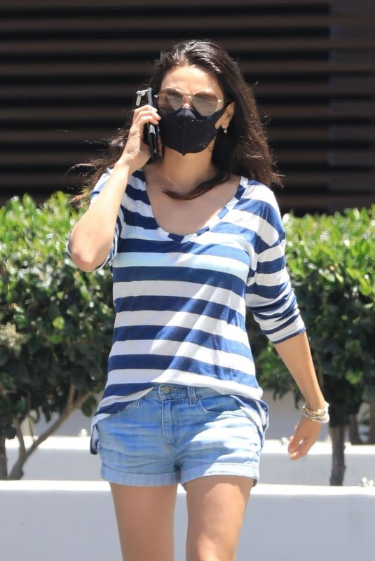 MILA KUNIS in Denim Shorts Out in Beverly Hills 06/13/2021