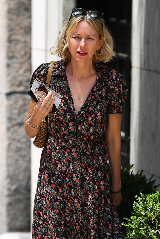 NAOMI WATTS in a Floral Dress Out in New York 06/29/2021