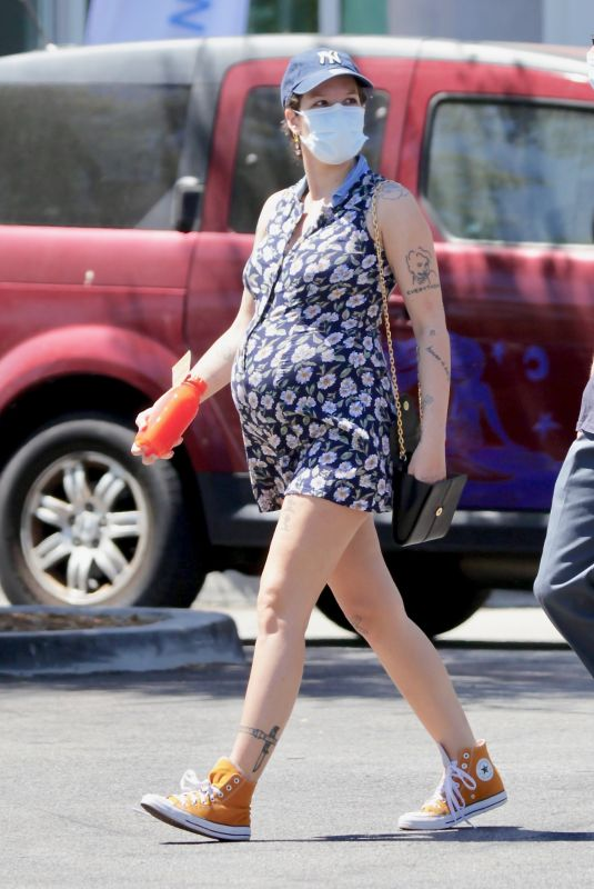 Pregnant HALSEY at Erewhon Organic Grocers in Los Angeles 06/10/2021