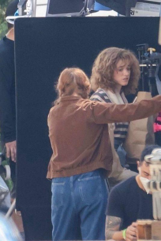 SADIE SINK and NATALIA DYER on the Set of Stranger Things, Season 4 in Atlanta 06/15/2021