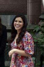ANNE HATHAWAY and AMERICA FERRERA on the Set of Caviar in New York 07/11/2021