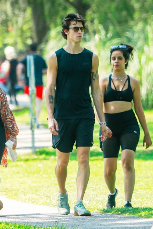 CAMILA CABELLO and Shawn Mendes Out Hiking at a Beverly Hills Park 07/18/2021