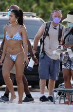 CAMILA MENDES in Bikini on a Set at Miami Beach 07/30/2021