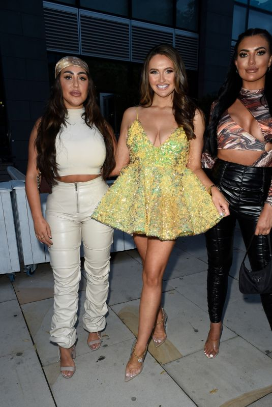 CHARLOTTE DAWSON, SOPHIE KASAEI and ABBIE HOLBORN Leaves Dawsy Tanning Launch at Menagerie in Manchester 07/29/2021