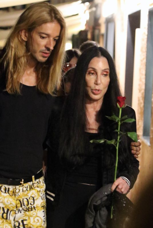 CHER Out for Dinner with Friends in Portofino 07/18/2021