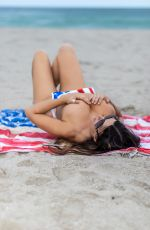 CLAUDIA ROMANI in Patriotic Swimsuit Celebrates 4th of July on South Beach 07/04/2021