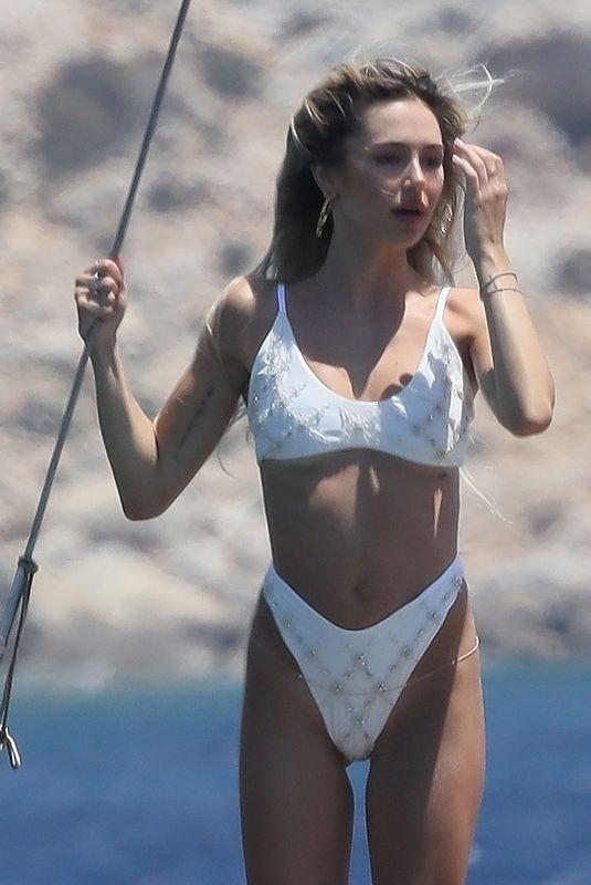 DELILAH HAMLIN in a White Bikini at a Boat in Mykonos 07/15/2021