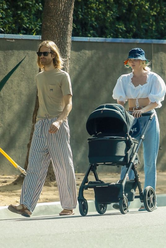 ELSA HOSK and Tom Daly Out with Their Baby in Pasadena 07/30/2021