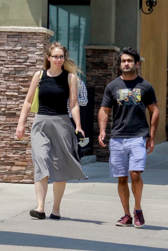 EMILY GORDON and Kumail Nanjiani Out for Lunch in Los Angeles 07/23/2021