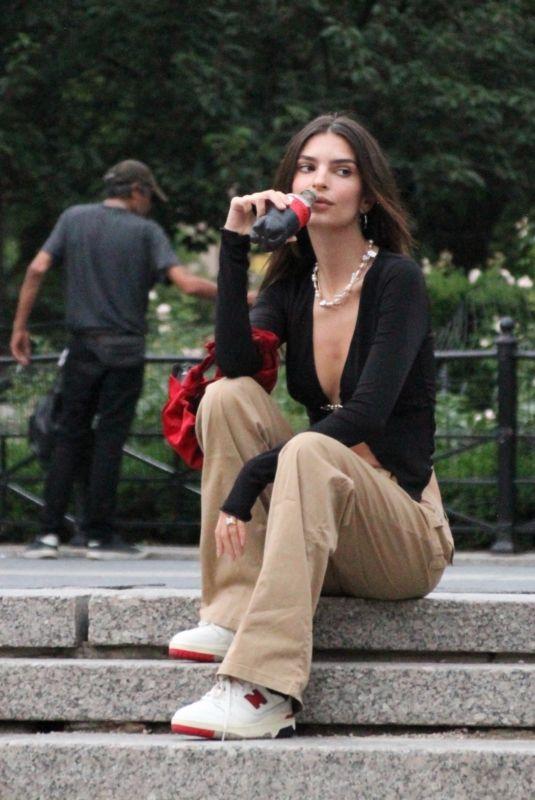 EMILY RATAJKOWSKI on the Set of Coca-Cola Zero Sugar Commercial in New York 07/13/2021