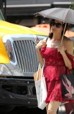 FAMKE JANSSEN in a Red Dress Out and About in New York 07/06/2021