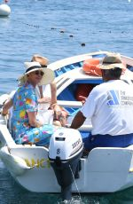 GINA GERSHON and TRUDIE STYLER at a Boat in Ischia 07/22/2021