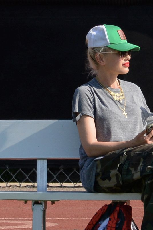 GWEN STEFANI Watched Their Sons Football Game in Los Angeles 07/25/2021