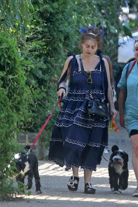 HELENA BONHAM CARTER Out with Her Dogs in London 07/18/2021