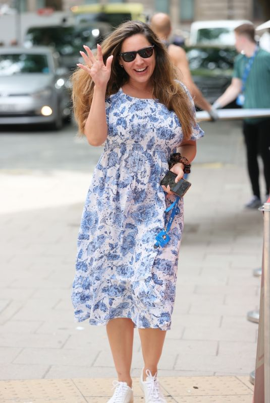 KELLY BROOK in a Floral Summer Dress at Heart Radio in London 07/14/2021