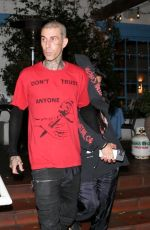 KOURTNEY KARDASHIAN and Travis Barker Leaves a Dinner in Los Angeles 07/12/2021