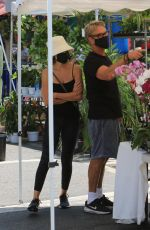 LISA RINNA Shopping for Fresh Flowers at Farmers Market in Los Angeles 07/18/2021