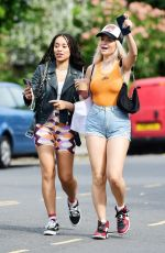 LOTTIE MOSS in Denim SHorts Shows a Diamond Ring on Her Engagement Finger Out in Notting Hill 07/14/2021