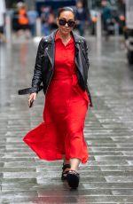 MYLEENE KLASS in a Red Dress Arrives at Global Studios in London 07/12/2021