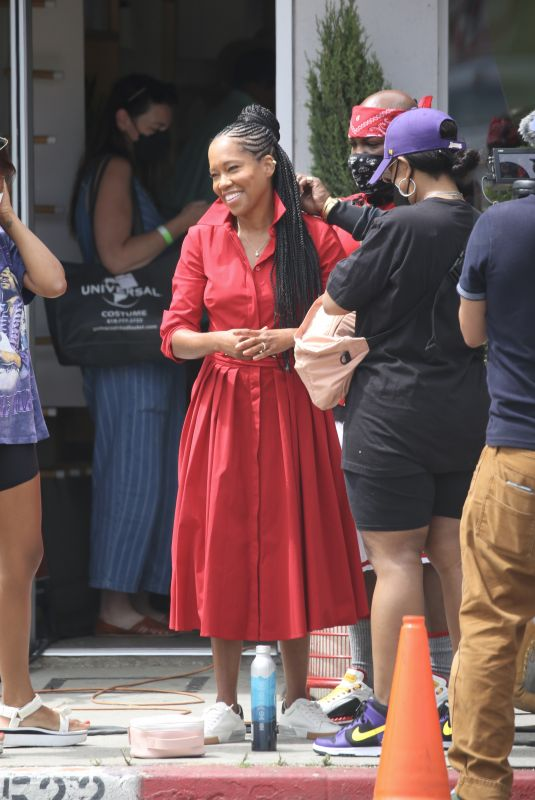 REGINA KING on the Set of a Commercial in Los Angeles 07/29/2021