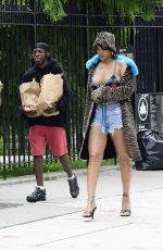 RIHANNA and Asap Rocky on the Set of a Music Video in Bronx 07/10/2021