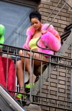 RIHANNA and ASAP Rocky on the Set of a Music Video in New York 07/11/2021