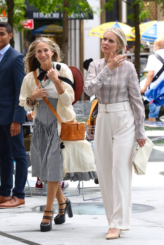 SARAH JESSICA PARKER and CYNTHIA NIXON on the Set of And Just Like That 07/09/2021