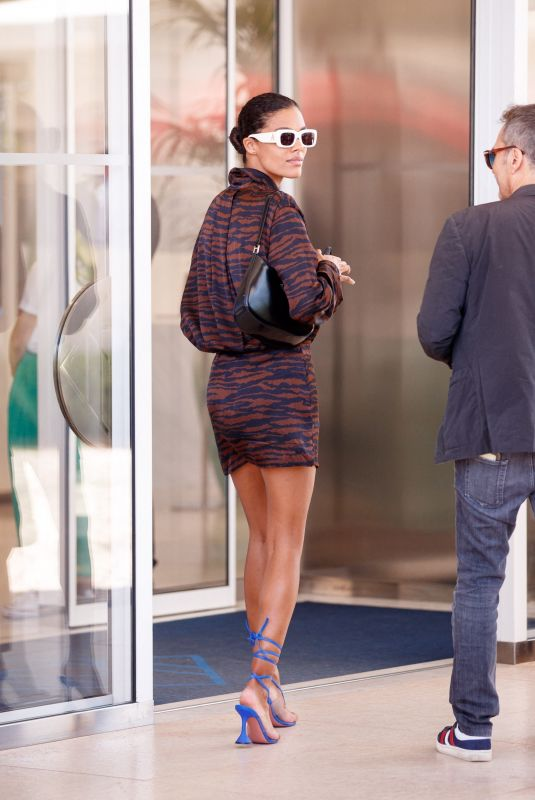 TINA KUNAKEY Arrives at Martinez Hotel at 74th Cannes Film Festival 07/09/2021