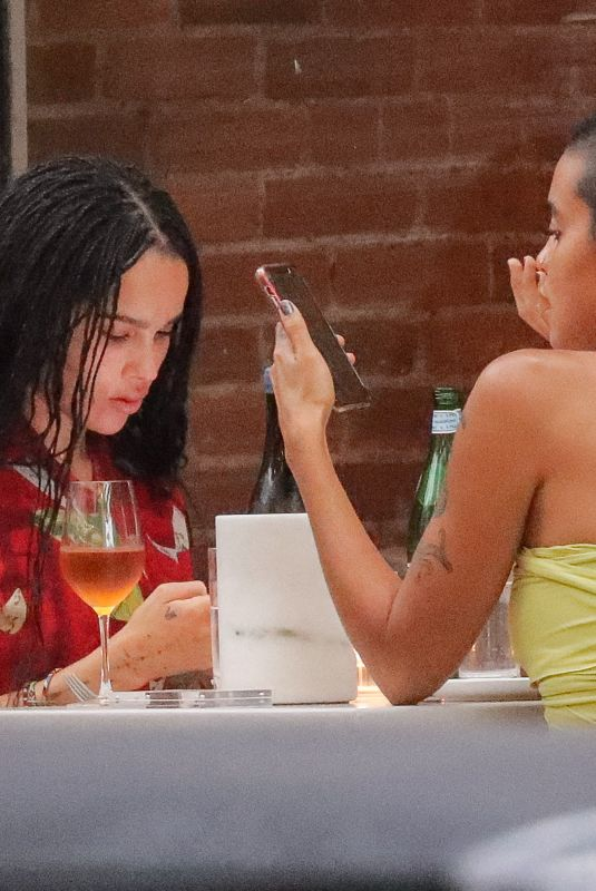 ZOE KRAVITZ and SARA ELISE HARDMAN Out for Dinner in Brooklyn 07/08/2021