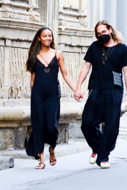 ZOE SALDANA Out and About in Florence 07/26/2021