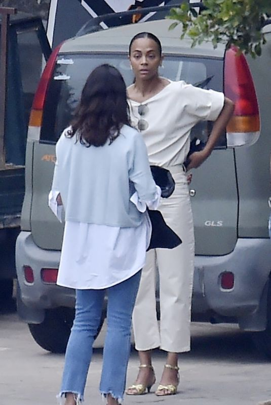 ZOE SALDANA Out with Her Family on Vacation in Portofino 07/03/2021