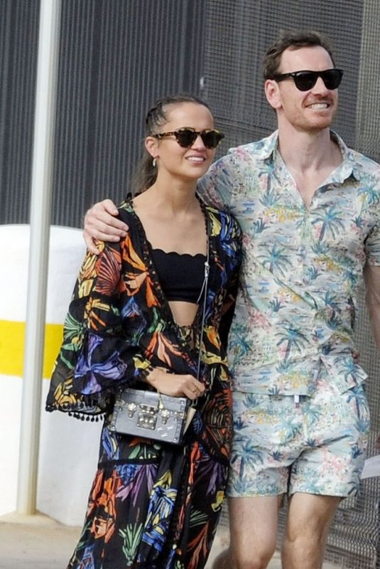 ALICIA VIKANDER and Michael Fassbender Out in Ibiza 08/23/2021