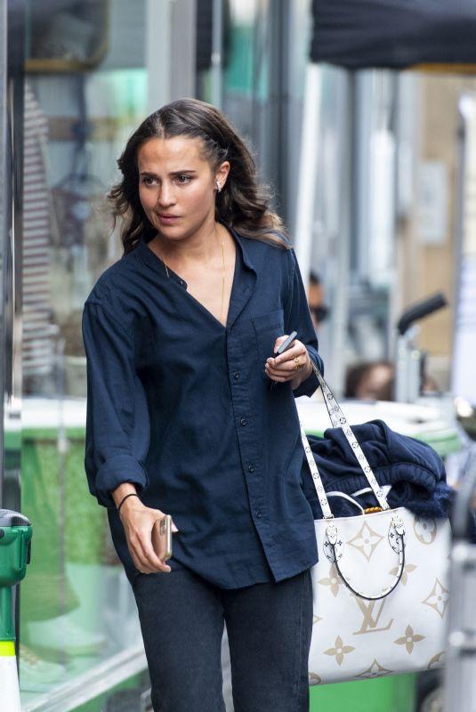 ALICIA VIKANDER on the Set of Irma Vep in Paris 08/05/2021