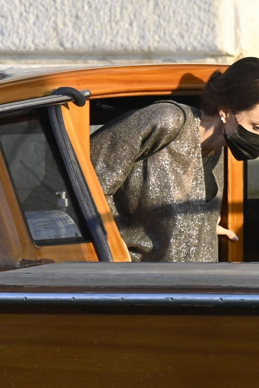 ANGELINA JOLIE at a Taxi Boat in Venice 07/30/2021