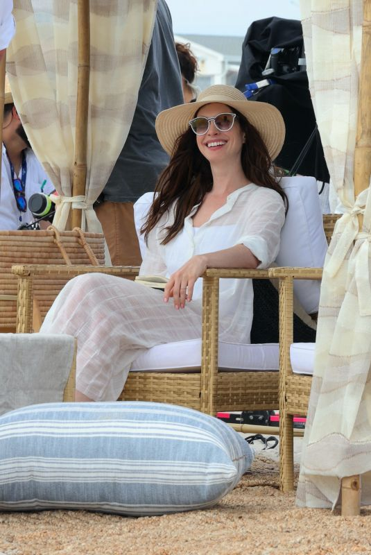 ANNE HATHAWAY on the Set of WeCrashed at Shores Atlantic Beach 08/16/2021