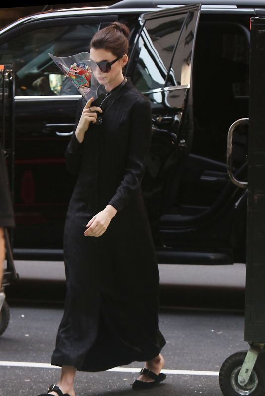 ANNE HATHAWAY on the Set of WeCrashed in New York 08/25/2021