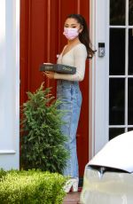 ARIANA GRANDE Out with a Box of Donuts in Los Angeles 08/13/2021
