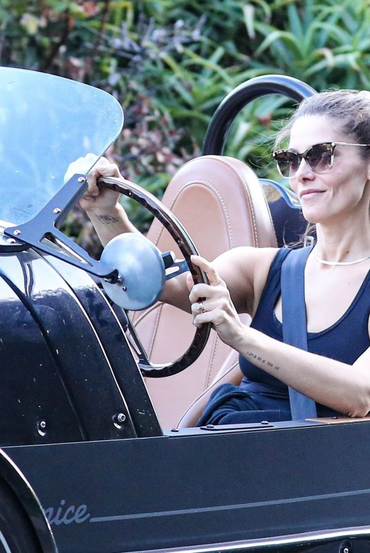 ASHLEY GRENNE Driving Her Vanderhall Venice Sports Car Out in Venice Beach 08/06/2021
