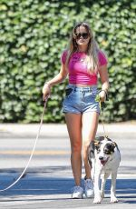 AVA PHILLIPPE in DenimShorts Out with her Dogs in Brentwood 08/03/2021