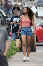 CHANDLER KINNEY in Denim Shorts Out in New York 08/29/2021