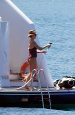 CHARLIZE THERON in Swimsuit at a Yacht at Poros Island 08/08/2021