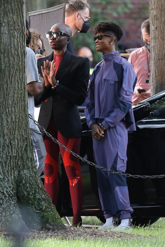 DANAI GURIRA and LETITIA WRIGGHT on the Set of Black Panther: Wakanda Forever at MIT in Cambridge 08/21/2021