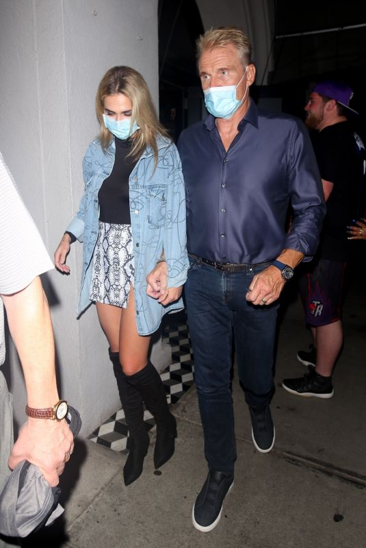 EMMA KROKDAL and Dolph Lundgren at Craig's in West Hollywood 08/11/2021
