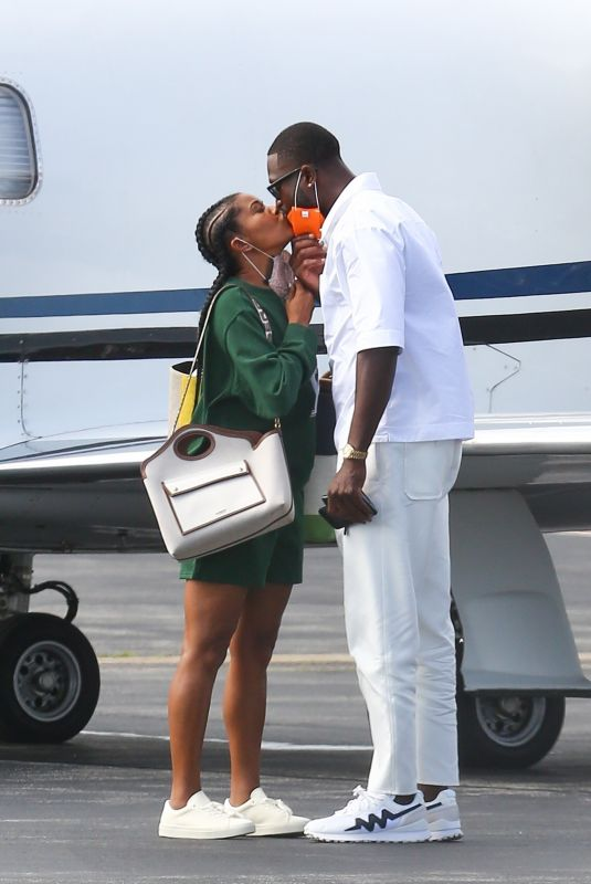 GABRIELLE UNION and Dwyane Wade Board a Private Jet in Martha's Vineyard 08/08/2021