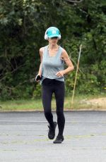 HILARIA BALDWIN Out Jogging in Hamptons 08/04/2021